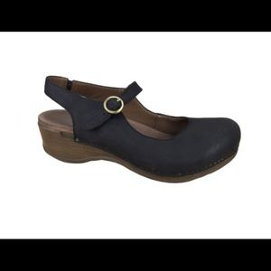 Dansko Black Mary Jean Open Back Clogs Sandals